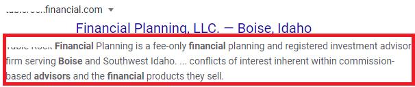 Meta Description Tags for Financial Advisors