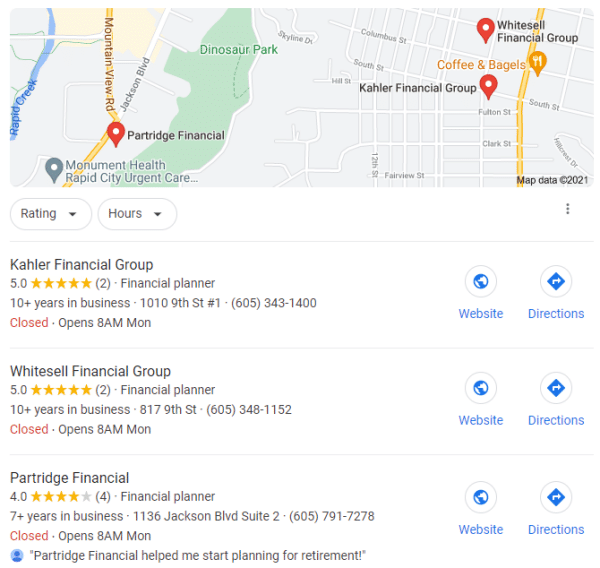Local Search Engine Optimization for Financial Advisors
